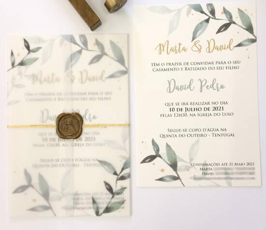 tudo o que quiseres® - convite de casamento e batizado com elementos botânicos - eucalipto - envelope em papel vegetal e lacre - botanical wedding and baptism invitation with vellum envelope and wax seal